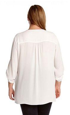 PLUS SIZE WHITE ASYMMETRICAL HEM WRAP TOP #Plus_Size #White #Asymmetrical #Hem #Wrap #Top #Plus #Size #Womens #Fashion #KarenKane #Plus_Size_Fashion