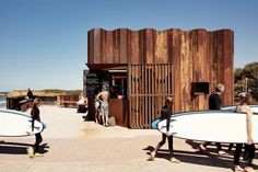 TORQUAY, AUSTRALIA On a pristine stretch of Victoria's coastline, the undulating façade of Third Wave recalls the waves below. The compact kiosk—occupying just over 200 square feet—houses the beach's changing rooms in addition to the coffee bar, which serves international brews. Weathered sheet-metal that was used for flood protection in the area a few years prior was repurposed for the structure, which can be easily broken down and relocated if necessary. thirdwavekiosk.com.au
