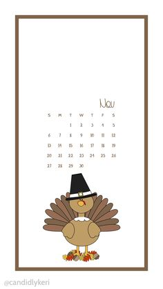 Cute Cartoon Turkey Thanksgiving, give thanks November calendar 2016 wallpaper you can download for free on the blog! For any device; mobile, desktop, iphone, android!