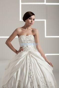 Sweetheart Floor Length Ball Gown Taffeta white Wedding Dress With Embroidery(ZJ7299)