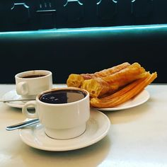 Ending our #Madrid break with #churros & #chocolate - the essential winter mid-morning snack in Spain's chilly capital. 'Chocolatería San Ginés is one of the most famous (and touristy) in the city but one's patience queuing outside in the cold is soon rewarded by freshly fried churros for dipping in the thick rich hot chocolate. Churros are a kittle like a doughnut but really the experience is unique. Make sure you try ones that are artisan made and freshly fried so you get that seductive…