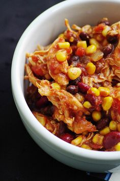 Crockpot Chicken Taco Chili - really good! Great with sour cream and cheese.
