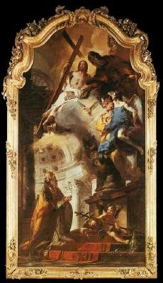 Pope St. Clement Adoring the Trinity - Giovanni Battista Tiepolo.  1737-38.  Oil on canvas.  488 x 256 cm.  Alte Pinakothek, Munich, Germany.