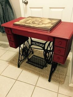 Refinished singer sewing table