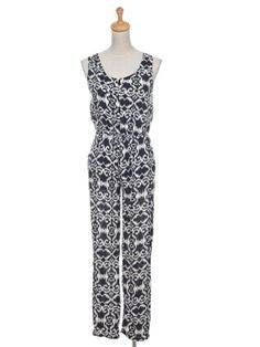 Anna-Kaci S/M Fit Black White Abstract Print Pattern Sleeveless Relaxed Jumpsuit