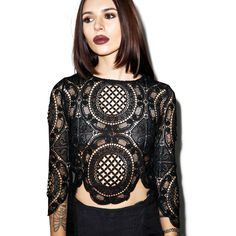 Sistine Lace Crop Top ($23) ❤ liked on Polyvore featuring tops, lovecat, lace tops, scalloped top, lacy tops and lace crop top