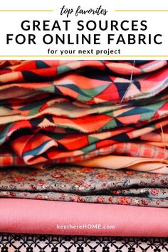 These are my favorite online fabric stores and tips to help you buy fabric online for your next easy sewing project. Diy Home Decor Projects, Easy Sewing Projects, Cool Diy Projects, Home Decor Fabric, Fabric Crafts, Buy Fabric Online, Dollar Store Crafts, Pattern Names, Fabric Patterns