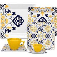 Aparelho de Jantar Chá e Cafezinho 42 Peças Porcelana Quartier Sevilha Colorido - Oxford Porcelanas