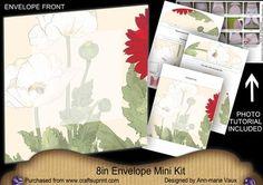 White Poppy2 Large Blooms 8in Envelope Mini Kit on Craftsuprint - Add To Basket!