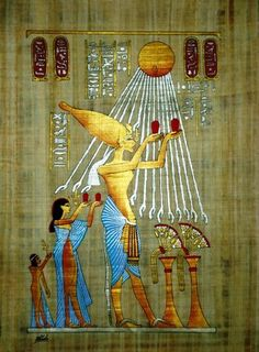 Akhenaten, Nefertiti, and one of their daughters offer sacrifices to the sun-disk Aten, whose rays, stretching down, end in hands bearing the ankh—the Egyptian symbol of eternal life.