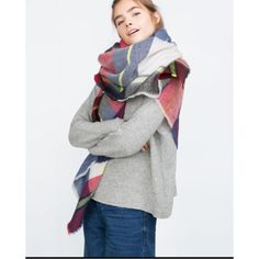 Zara tartan scarf ❤️HOT PICK❣ This super soft Zara scarf is perfect for fall and winter. It is red, white, and blue. This scarf is sold out everywhere but you can buy it here for only $60 ! Zara Accessories Scarves & Wraps