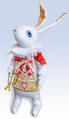 Alice in Wonderland themed handmade, printed art dolls. White Rabbit with jacket and watch, White Rabbit Herald. Also White Rabbit in indigo and vintage prints. Alice In Wonderland Party, Adventures In Wonderland, Walt Disney, White Rabbits, Through The Looking Glass, Red Fabric, Illustrations, Softies, Art Studios