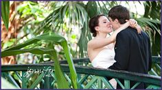 Bride and Groom in Tropical Conservatory at Meijer Gardens. Grand Rapids weddings. [Jennifer Marie Photography)