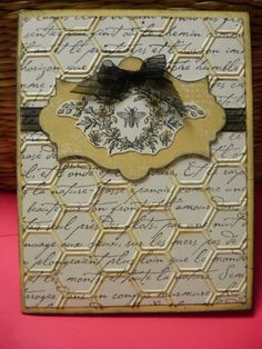 Stampin Up - Honeycomb embossing folder, Honeybee Card...really like the way the embossed folder and dsp paper come together