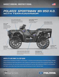 2014 Polaris Sportsman WV850 With TerrainArmor tires. Spec Sheet and FAQ. #Polaris #WoodsCycleCountry