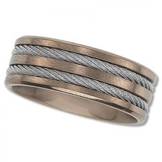 Men's Titanium Wedding Band with Rose Colored Finish and Cable Inlay - Guaranteed for Life, 90 Day Return Policy, Free Shipping - $79.95