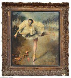 """Assinatura não identificada. """"Bailarina"""", escola européia, óleo s/ tela, 70 x 60 cm, moldur"""