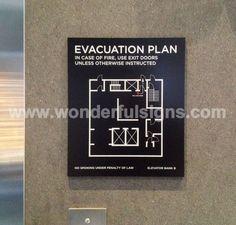 Elevator Sign for Manhattan Hotel Lobby Wayfinding Signage, Signage Design, Map Design, Creative Poster Design, Creative Posters, Emergency Exit Signs, Evacuation Plan, Manhattan Hotels, Sign System