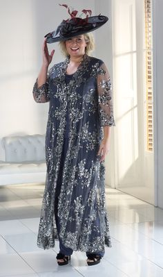 Buy Florentyna Dawn Sparkle Mavis Coat with Scalloped Edging In Charcoal in Mother of the Bride. Mother Of Bride Outfits, Mother Of The Bride Gown, Plus Size Retro Dresses, Plus Size Outfits, Wedding Trouser Suits, Dress For Petite Women, Dresses Uk, Bride Dresses, Long Dresses