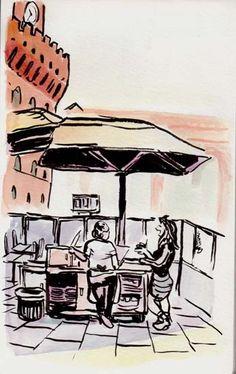 [ #DESSIN ] Discussion de comptoir - Piazza della Signoria, #Firenze http://www.lescarnets.fr/sketch.php?id=1156 #art #voyage