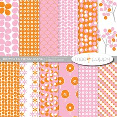 Pink and orange digital paper by moo and puppy