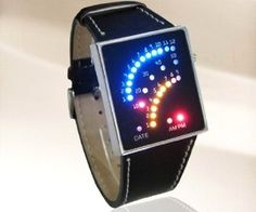 This watchs face tells time by lighting up glowing dots in an arc. This is a lot cooler and more futuristic looking than a traditional watch.