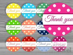 Printable round label, Thank you polka dot circle, DIY sticker,  2,5 in, for party favor, homemade gift, jar  decoration, instant download - pinned by pin4etsy.com