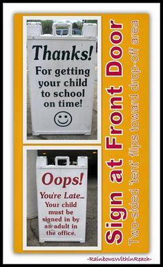 """Front Door """"Reversible"""" Sign for School: On Time vs.Tardy via RainbowsWithinReach Featured in End-of-Year Bulletin Board RoundUP:"""