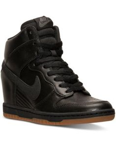 Nike Women's Dunk Sky Hi Essential Casual Sneakers from Finish Line $119.99 The Women's Nike Dunk Sky Hi Essential Sneakers takes a legendary design to new heights, with a concealed wedge heel and a high-top silhouette. Premium materials define the upper while supportive overlays and court-inspired traction deliver a secure, stable ride.