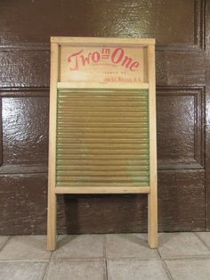 """Vintage wood and metal wash board- """"Two in One""""- solid, nice vintage condition, great home decor by HeathersCollectibles on Etsy"""