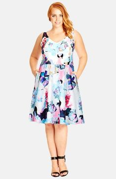 City Chic Floral Jacquard Fit & Flare Dress (Plus Size) available at #Nordstrom
