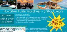 Huvafen Fushi Maldives - Stay 7 Pay 5 Offer at 5 Star Luxury Resort! Markets: All Markets