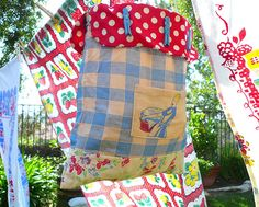 Clothespin holder made from vintage tablecloths.