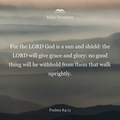 For the LORD God is a sun and shield; the LORD bestows favor and honor; no good thing does he withhold from those whose walk is blameless.