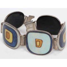 German Modernist cloisonne enamel bracelet Scholtz Lamme Perli Werkstatte 1950