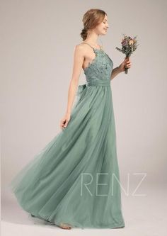 Bridesmaid Dress Dusty Green Tulle Wedding Dress Illusion Lace Prom Dress Spaghetti Strap Maxi Dress Open Back A-Line Party - Ana Gregorio Wedding Entourage Dress, Wedding Bridesmaid Dresses, Tulle Wedding, Chiffon, Bridesmaid Dress Colors, Feather Dress, Illusion Dress, Gala Dresses, Green Dress