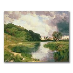 This ready to hang, gallery wrapped art piece features an approaching storm over a river. Thomas Moran (12 February, 1837 - 25 August, 1926) was an American painter and printmaker whose work often fea