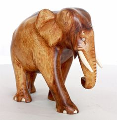 Elephant Figurine  Hand Nandu Wood carved from old Sri by ICMCM