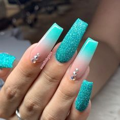 In seek out some nail designs and ideas for your nails? Here's our list of must-try coffin acrylic nails for trendy women. Aycrlic Nails, Swag Nails, Aqua Nails, Blue Nails Art, Turquoise Acrylic Nails, Blue Acrylic Nails Glitter, Blue Ombre Nails, Blue Coffin Nails, Purple Nail Polish