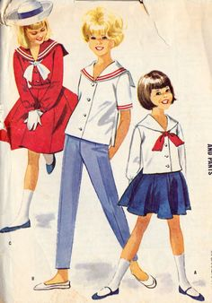 Girls Sports Separates Blouse skirt and Pants Vintage Girls Dresses, Vintage Outfits, Vintage Clothing, 1960s Fashion, Vintage Fashion, Vintage Sewing Patterns, 60s Patterns, Clothes Patterns, Nautical Fashion