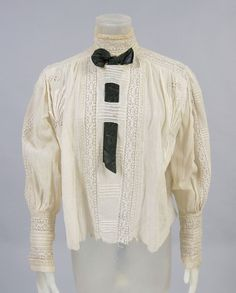 Woman's Blouse Artist/maker unknown, American. Date: c. 1905 Medium: Ivory cotton with embroidery and tatted inserts The Philadelphia Museum of Art.