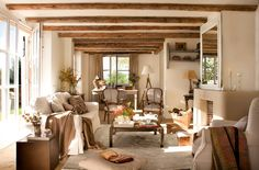 32 Rustic Winter Decor for Living Room Ideas Cute Living Room, Home And Living, Living Room Decor, Living Spaces, Rustic Winter Decor, Spanish Interior, Cottage Interiors, French Country Decorating, Home Furnishings