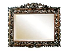 This gorgeous Spanish Carved Wooden Mirror is a replica of Spanish Colonial frames from Peru, Bolivia and Mexico. Hacienda Decor, Mexican Hacienda, Spanish Revival, Spanish Colonial, I Love Mirrors, Spanish Style Decor, Yellow Baths, Colonial Furniture, Art Deco Mirror