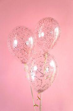 Rose Gold Confetti Balloons | Metallic Pink Confetti Balloons | Set of 3 Confetti Balloons | FREE SHIPPING* #GlitterBalloons