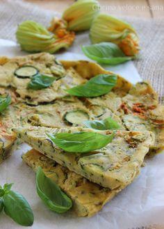 frittata con farina di ceci e zucchine  - la frittata va fatta in forno per evitare l'olio fritto. le verdure possono essere stufate in un padellino con sola acqua.