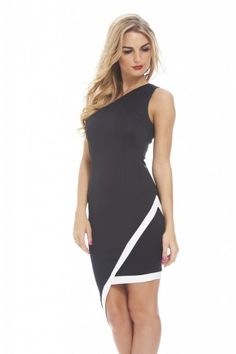 93f5bce912b Be bang on trend this season in this stylish contrast scuba one shoulder  bodycon dress.