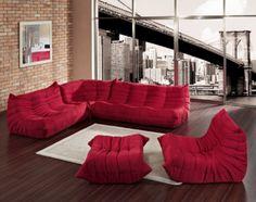 7 Modern Red Living Room Sets