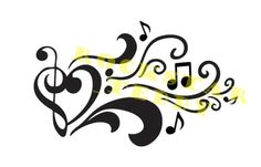 heart tattoo with musical notes | Do you like this music tattoo design?