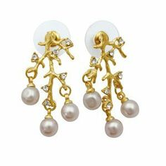 Dazzling Tree Branch Stud Earrings with Pearl, CZ, and Sparkling Crystals and Gold Tone Trim Creative Ventures Jewelry. $6.99. Great for daily and casual wear. Nickel free and lead free plating. Fashion stud earrings with cubic zirconia and sparkling crystal glass, and pearls. Tree branch design with goldtone trim. Earrings are 34mm x 18mm
