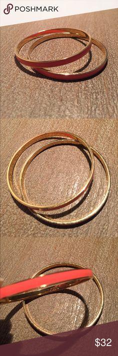 Two J. Crew Bracelets - Orange and Gold NEW J Crew bangle bracelets in gold and bright orange. J. Crew Jewelry Bracelets